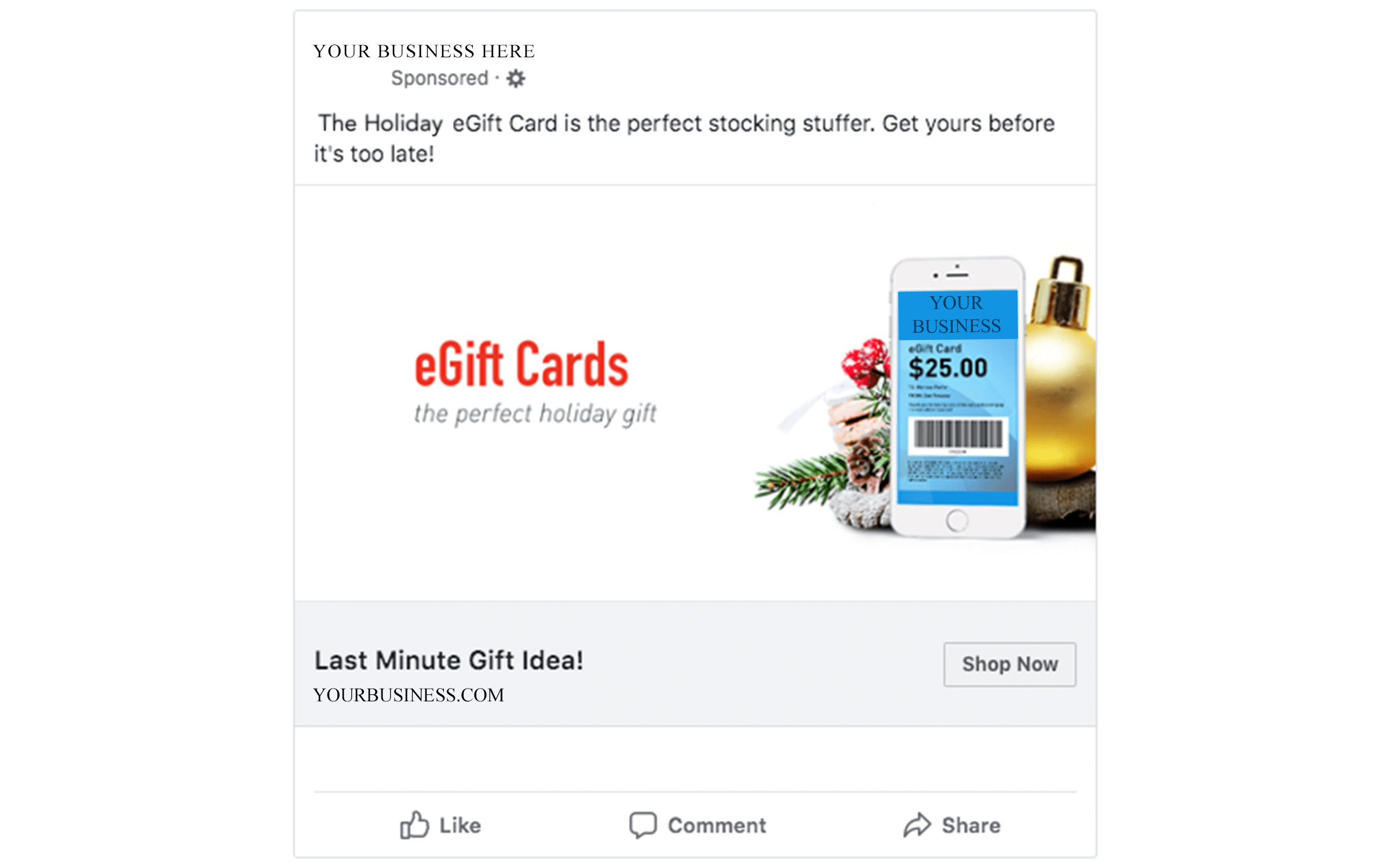 Holiday Facebook Ad Example