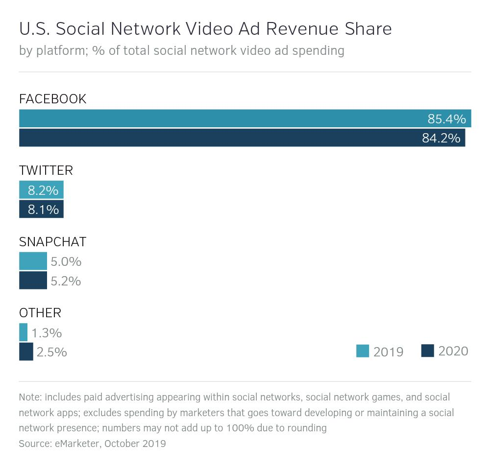 Social Network Video Ad Revenue Share in the US
